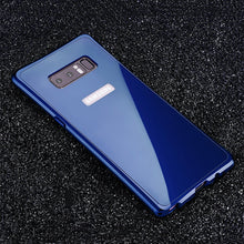 Load image into Gallery viewer, Phone Case - Luxury Aluminium Metal Bumper + Tempered Glass Armor Back Case For Note 8