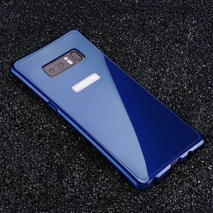 Phone Case - Luxury Aluminium Metal Bumper + Tempered Glass Armor Back Case For Note 8