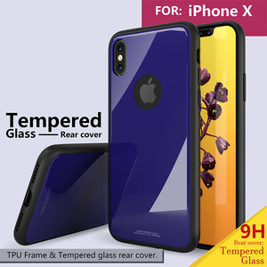 Phone Case - Luxury Shockproof Tempered Glass Rear Cover For iPhone X