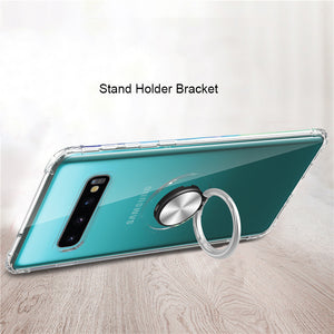 Phone Case - Transparent Magnetic 360 Rotating Ring Holder Soft Silicone Case For Samsung S10 S10 Plus S10(5G) S10e A70 A50 A30 A20