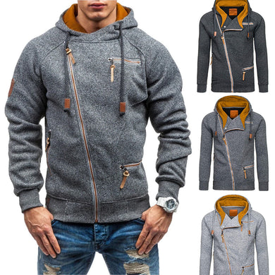 Men's Clothing - New Arrival Stitching Slim Fit Oblique Zipper Cardigan Hoodies