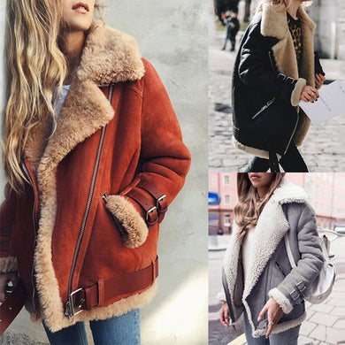 Autumn Winter Faux Fur Collar Lapel Zipper Plain Coat