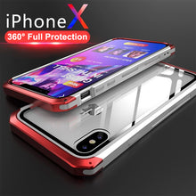 Load image into Gallery viewer, Phone Case - Luxury Transparent Aluminum Metal Tempered Glass Back Cover For iPhone X