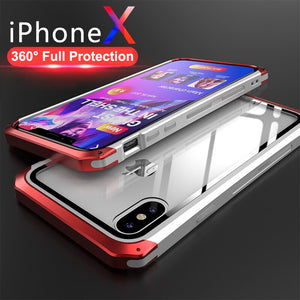 Phone Case - Luxury Transparent Aluminum Metal Tempered Glass Back Cover For iPhone X