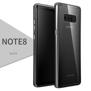Phone Case - Luxury Aluminum Metal Frame + Tempered Glass Back Cover For Note 8