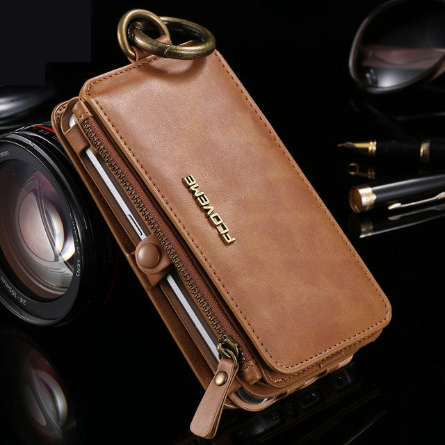 Phone Case - Retro Leather Belt Clip Card Wallet Case For Samsung