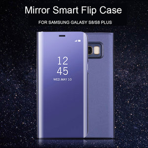 Phone Case - Clear View Mirror Smart Kickstand Flip Case For Samsung