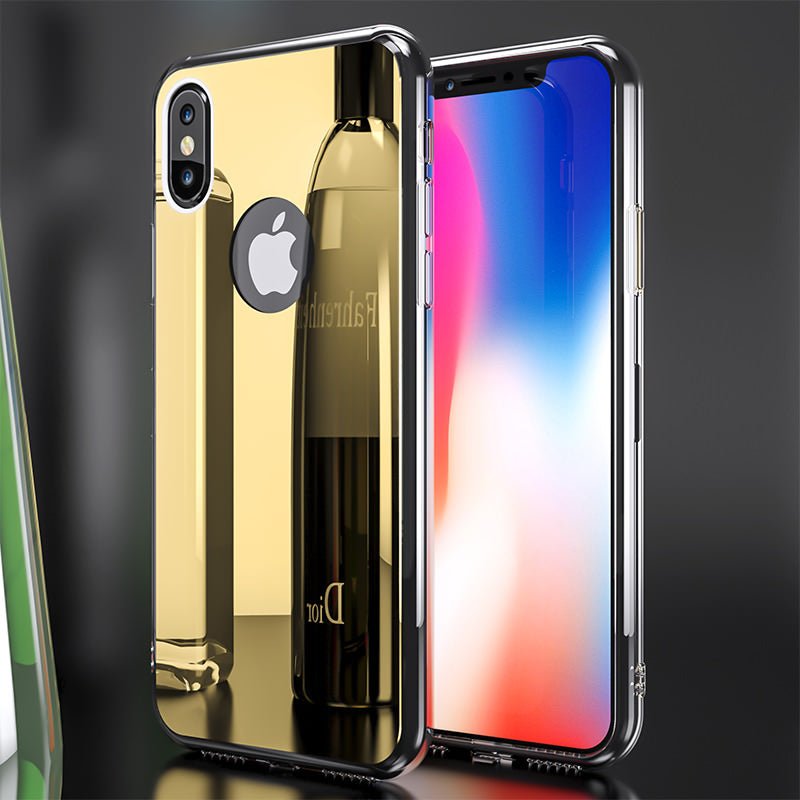 Phone Case - Luxury Bling Mirror Soft TPU Cover + Tempered Glass For iPhone X