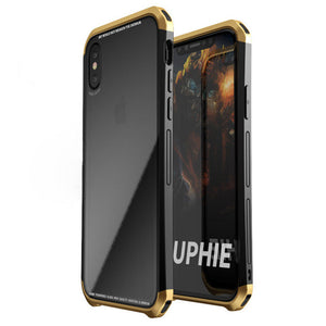 Phone Case - Luxury 2 in 1 Metal Frame + 9H Tempered Glass Back Cover For iPhone