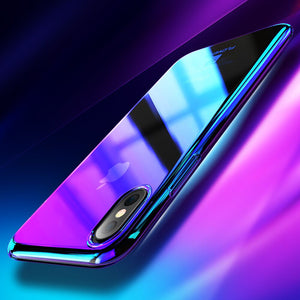 Phone Case - Luxury Gradient Blue Ray Back Cover For iPhone 8/8P/X
