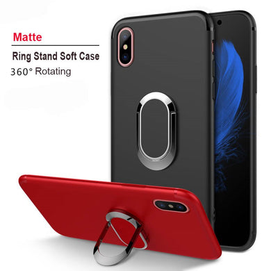 Phone Case - Magnetic Ring Kickstand Soft Silicone Case For iPhone X XR XS Max 8 7 6 6s Plus