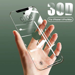 Screen Protector - 30D Full Cover Tempered Glass For iPhone 11 Pro Max X XR XS Max 8 7 6 6s Plus
