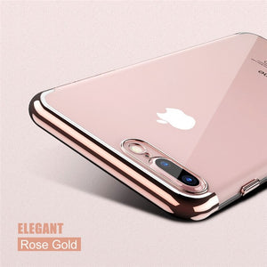 Phone Case - Luxury 3D Arc Gold Plated Transparent Case For iPhone