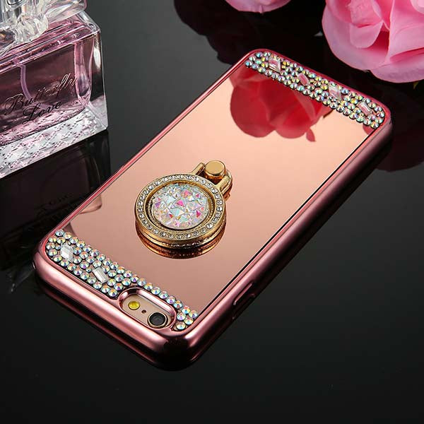 Phone Case - Luxury Diamond Soft TPU Crystal Case With Ring Holder For iPhone
