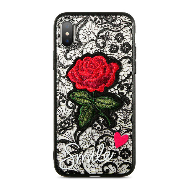 premium selection b49e8 1999b Phone Case - Fashion Transparent Lace Red Rose iPhone Case
