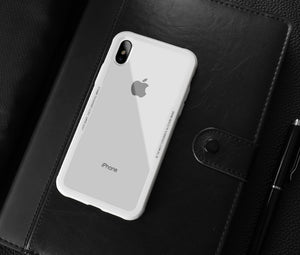 Phone Case - Luxury Transparent Tempered Glass Back + TPU Edge Cover Case For iPhone X