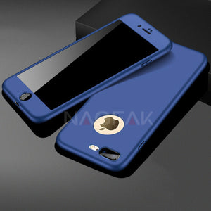 Phone Case - 360 Full Body Protective Case + Tempered Glass For iPhone 6 6S 7 8 Plus
