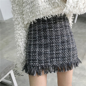New Autumn Winter Vintage Woolen Mini Skirt