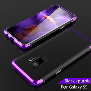 Phone Case - Luxury 3 in 1 Shockproof Aluminum Metal Case + Tempered Glass For Samsung S9 S9 Plus