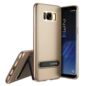 Phone Case - Luxury Soft Silicon TPU Metal Kickstand Phone Case For Samsung