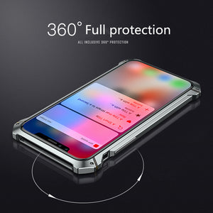 Phone Case - Luxury Shockproof Metal Aluminum Bumper + Clear Back Cover For iPhone X