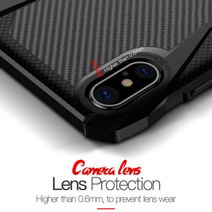 Phone Case - Luxury TPU Shockproof Carbon Fiber Case With Kickstand For iPhone X