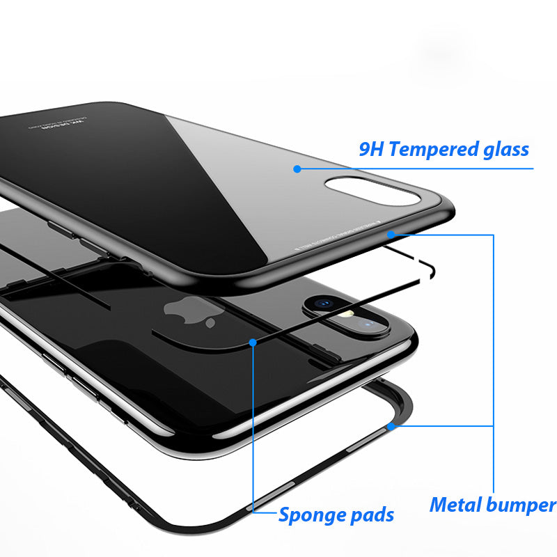 promo code 172a4 f7349 Phone Case - Metal Built-in Magnetic Flip + Tempered Glass Back Cover Case  For iPhone X 8 7 6 6s Plus