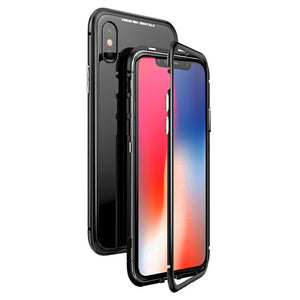 Phone Case - Metal Built-in Magnetic Flip + Tempered Glass Back Cover Case For iPhone X 8 7 6 6s Plus