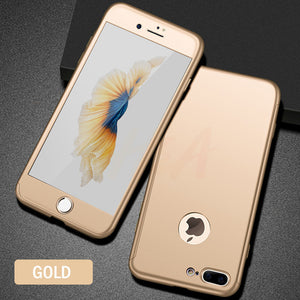 Phone Case - Luxury 360 Protective Case With Tempered Glass For iPhone 8 7 6 6s Plus
