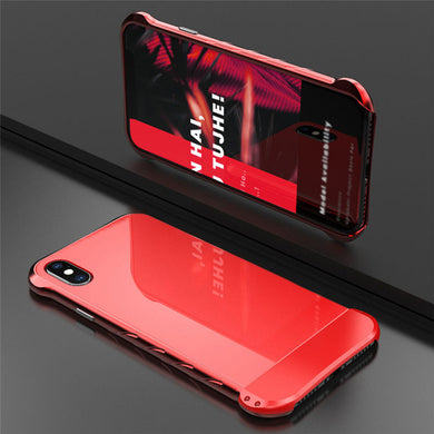 Phone Case - Luxury Aluminum Metal Bumper + Glass Back Cover Case For iPhone X