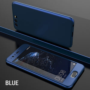 Phone Case - Luxury 360 Degree Full Coverage Case With Glass Film For Huawei P20 P10 P9 Lite Plus Mate 10 Lite Pro