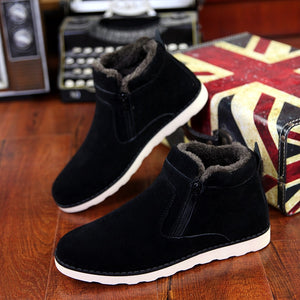 Men's Shoes - Winter Warm Short Plush Zipper Casual Shoes