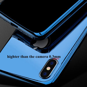Phone Case - Luxury 360 Full Protect Mirror Case With Tempered Glass For iPhone X XS XR XS MAX 7 8 Plus