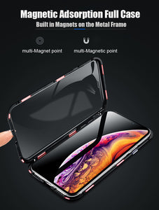 Phone Case - Luxury Metal 360 Full Body Protective Magnetic Case With Glass Cover For iPhone X XS XS Max 8 7 Plus