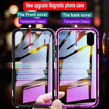 Load image into Gallery viewer, Phone Case - Luxury Magnetic Adsorption Metal Case With Glass Cover For iPhone X XR XS XS Max 7 8 Plus