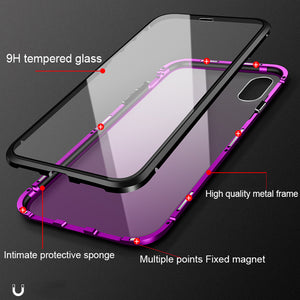 Phone Case - Luxury Magnetic Adsorption Metal Case With Glass Cover For iPhone X XR XS XS Max 7 8 Plus