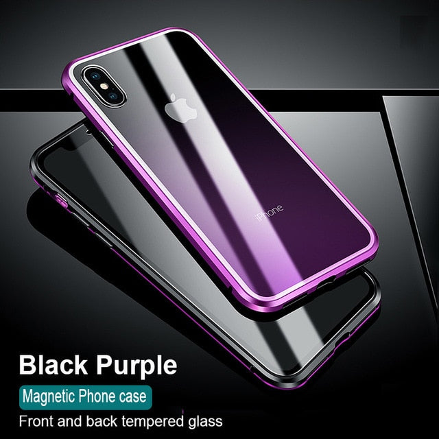 size 40 5b49d 51a7d Phone Case - Luxury Magnetic Adsorption Metal Case With Glass Cover For  iPhone X XR XS XS Max 7 8 Plus