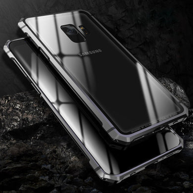 Phone Case - Luxury Shockproof Aluminum Metal Bumper + Tempered Glass Back Cover For Samsung Note 9 Note 8 S9 S9 Plus S8 S8 Plus