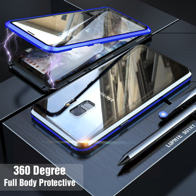 Phone Case - Luxury Metal 360 Full Body Protective Magnetic Case With Glass Cover For Samsung Galaxy Note 9 S9 S9 Plus