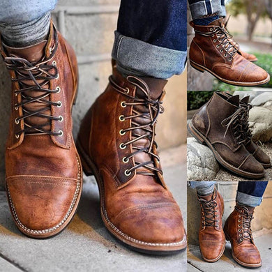 Men's Shoes - New Arrival Vintage Handmade High-Cut Lace-up Martin Boots