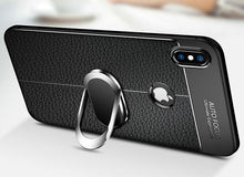 Load image into Gallery viewer, Phone Case - Shockproof Rugged Soft Silicone Leather Cover With Magnetic Ring Bracket & Strap For iPhone X XR XS XS Max i7 i8 i6 i6S Plus