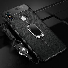 Load image into Gallery viewer, Phone Case - Shockproof Rugged Soft Silicone Leather Cover With Magnetic Ring Bracket & Strap For iPhone X XR XS XS Max 11 11Pro Max i7 i8 i6 i6S Plus
