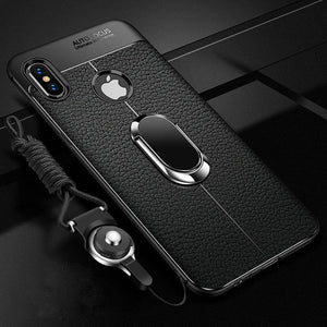 Phone Case - Shockproof Rugged Soft Silicone Leather Cover With Magnetic Ring Bracket & Strap For iPhone X XR XS XS Max 11 11Pro Max i7 i8 i6 i6S Plus
