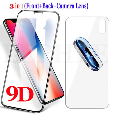 Screen Protector - 3 in 1 9D Full Front Glass For iPhone X XR XS Max 8 7 6 6S Plus (Tempered Glass +Back Film + Camera Lens Glass)