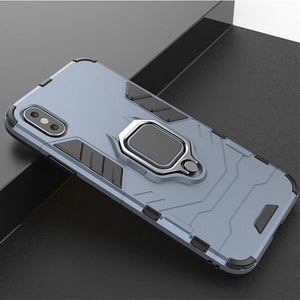 Phone Case - Luxury 3 in 1 Shockproof Ring Holder Armor Case For iPhone X XR XS Max 8 7 6 6s Plus