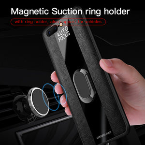 Phone Case - Luxury Soft Silicone Leather Case With Magnetic Ring Stand For iPhone X XR XS Max 8 7 6 6S Plus