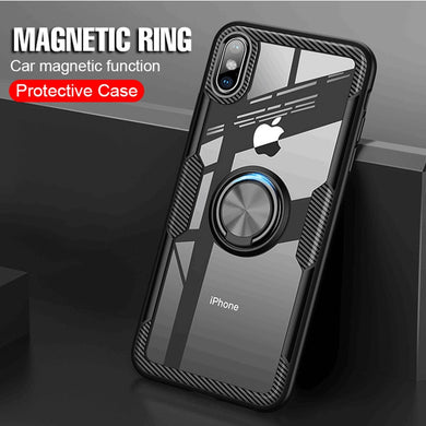Phone Case - Luxury Soft Silicone Car Holder Ring Case For IPhone X XR XS Max
