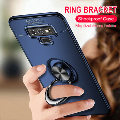 Phone Case - Luxury Shockproof Soft Silicone Case With Magnetic Bracket Ring For Samsung Galaxy S9 Plus S8 Plus Note 9 Note 8