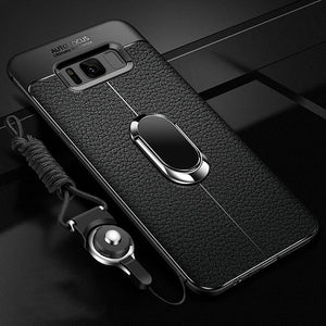 Phone Case - Litchi Silicone Magnetic Car Holder Bracket Case For Samsung S10e S10 S9 S8 Plus Note 9 8