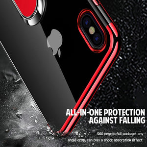 Phone Case - Plating Magnetic Bracket Silicone Cover For iPhone X XR XS MAX 8 7 6 6s Plus